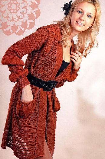 вязаное пальто для женщин крючком