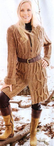 вязаное пальто для женщин спицами