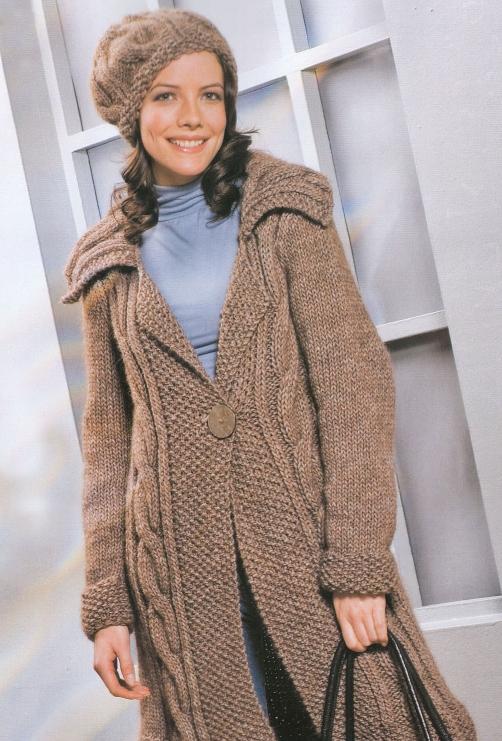 вязаное пальто и схемы