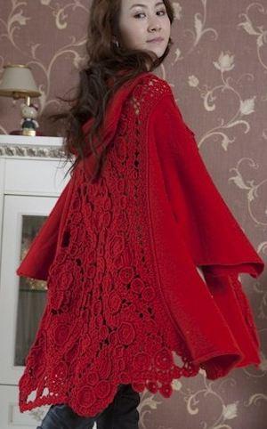 вязаное пальто с капюшоном женское