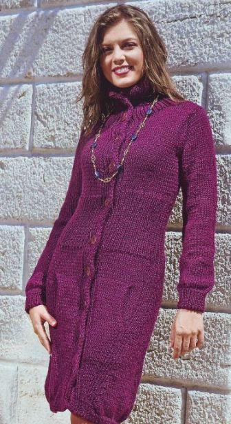 вязаное пальто со схемой