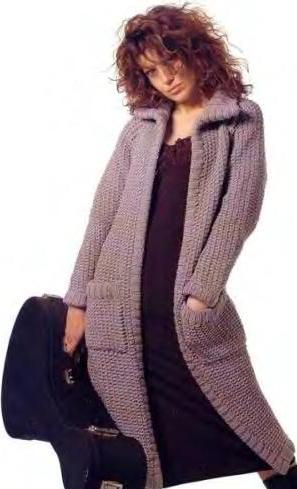 вязаное пальто спицами для женщин