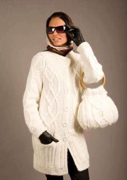 вязаное пальто спицами описание