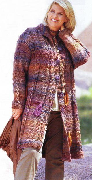 вязаное пальто спицами с описанием