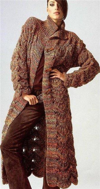 вязаное пальто травка