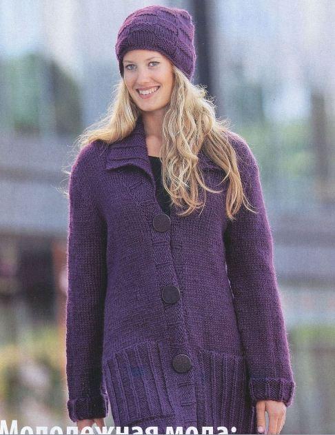вязаные пальто для полных женщин