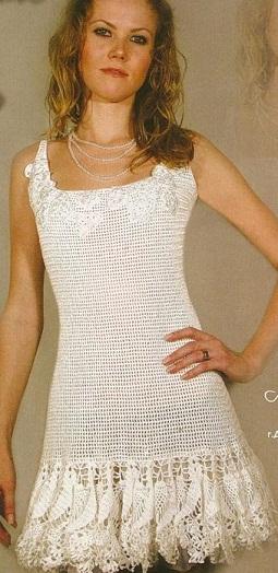 платья вязанные крючком