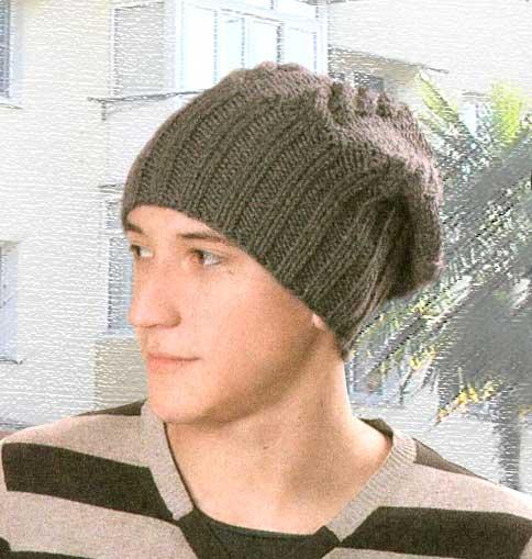 Вязаная мужская шапка схема