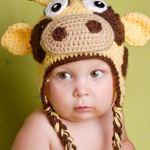 Детские шапки вязаные спицами и крючком со зверями