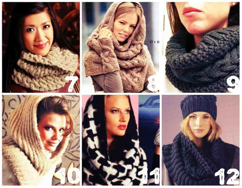 вязание шарфа снуда спицами