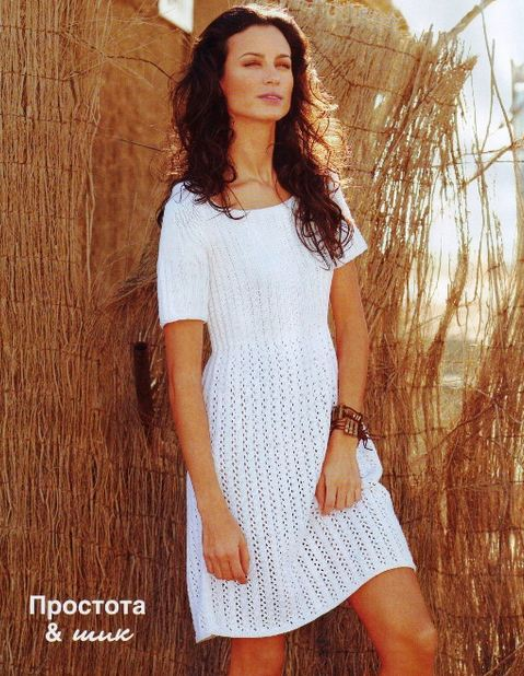 Легкое вязание платья спицами