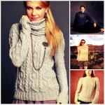 5 свитеров: вязаный свитер женский спицами с описанием