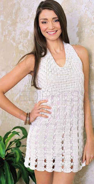 Кружевное вязаное платье крючком