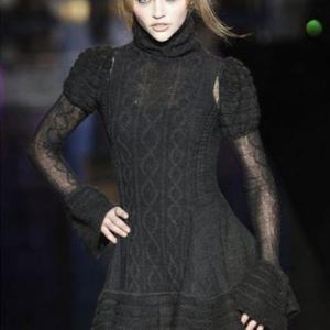 стильное вязаное платье спицами