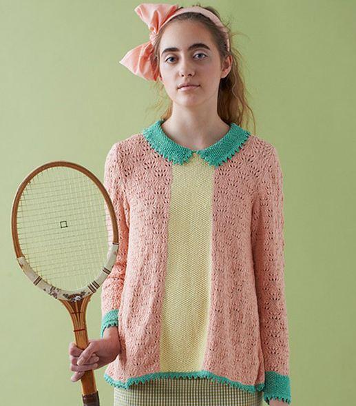 вязаный разноцветный свитер