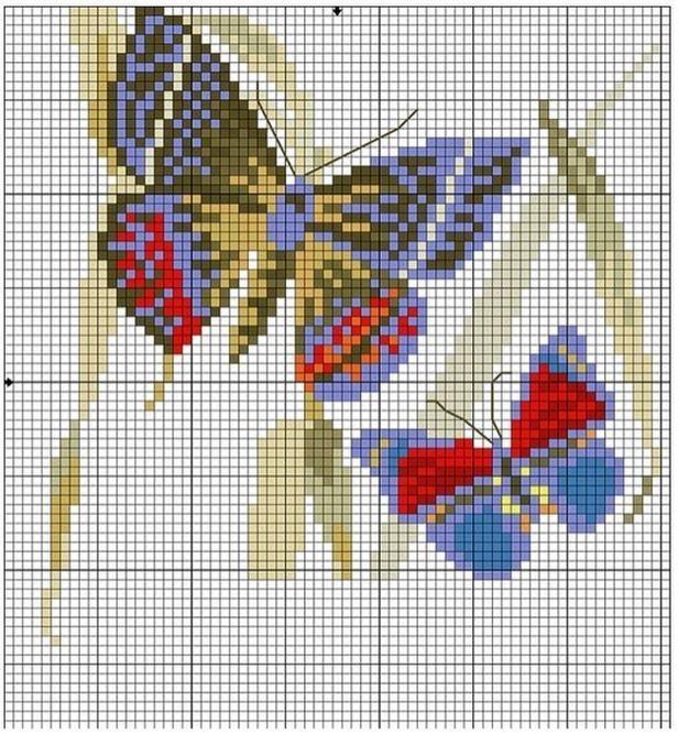 Легкая схема вышивки крестом бабочки