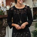 Черное вязаное платье