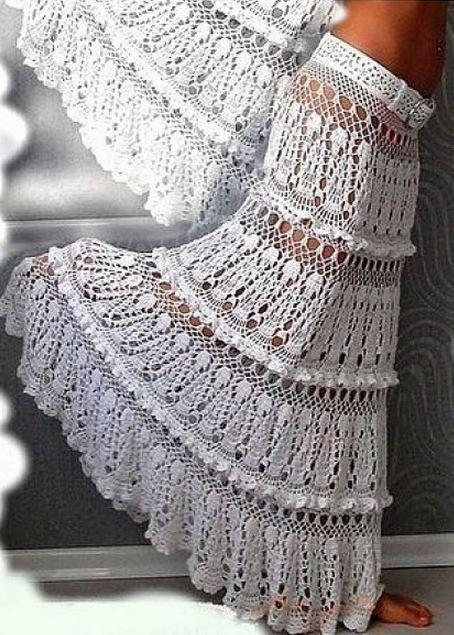 Ажурная белая юбка в пол