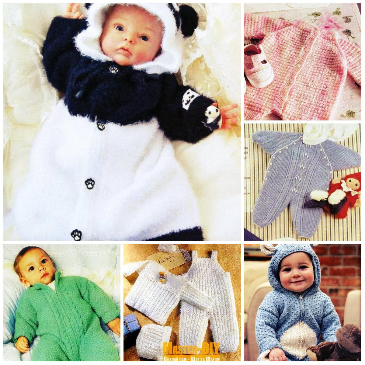 13 вязаных комбинезонов спицами для новорожденного, схемы с описанием