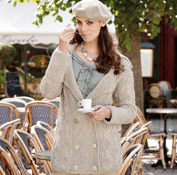 Кардиган с плетеным узором