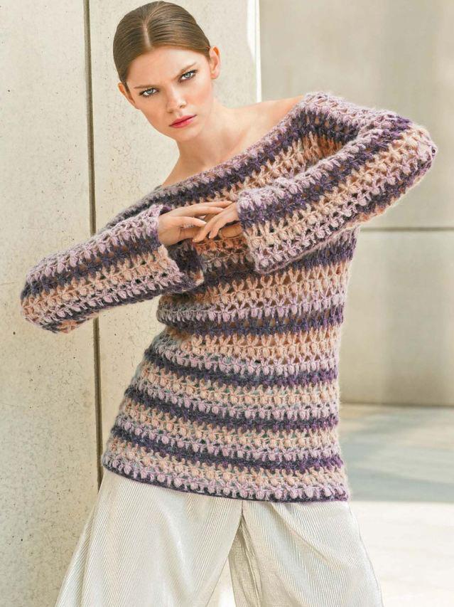 Женственный пуловер из секционной пряжи