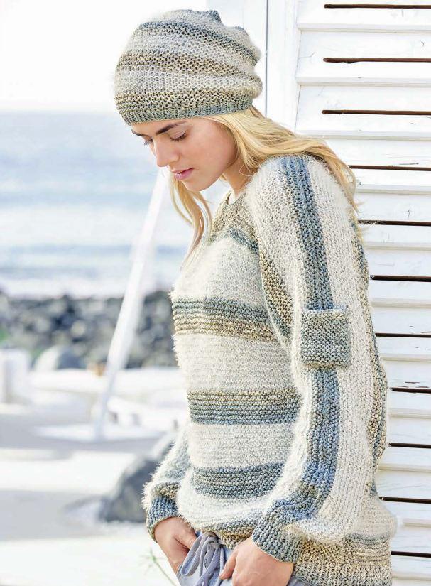 Пуловер в полоску и шапка платочной вязки