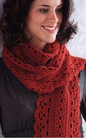 Красивый красный шарф крючком