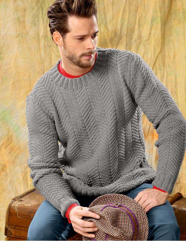 как связать мужской свитер спицами