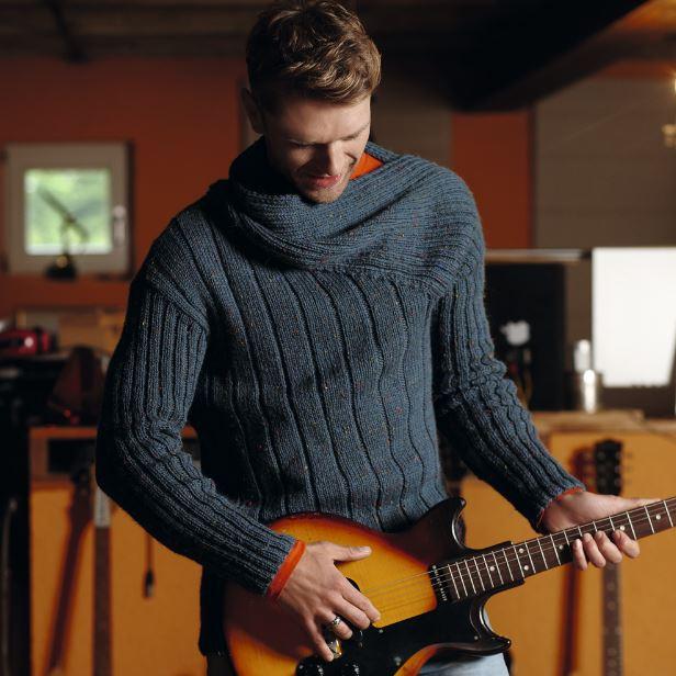 мужской свитер связанный спицами