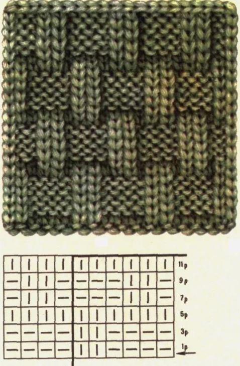схема вязания шахматного узора для шарфа снуда