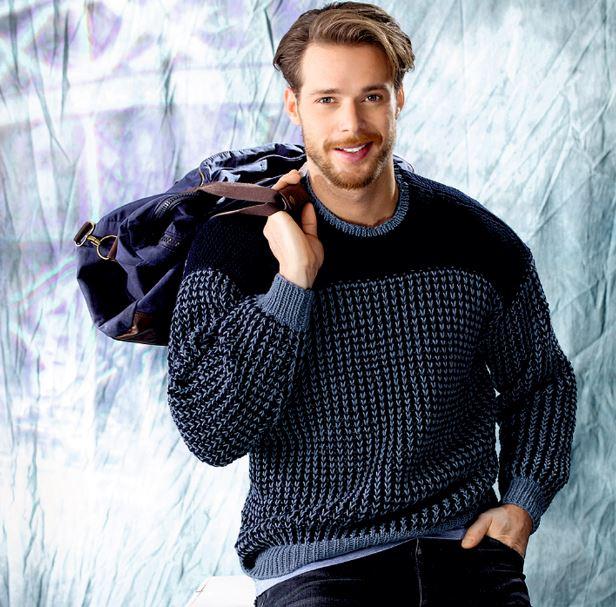 схемы мужского свитера связанного спицами