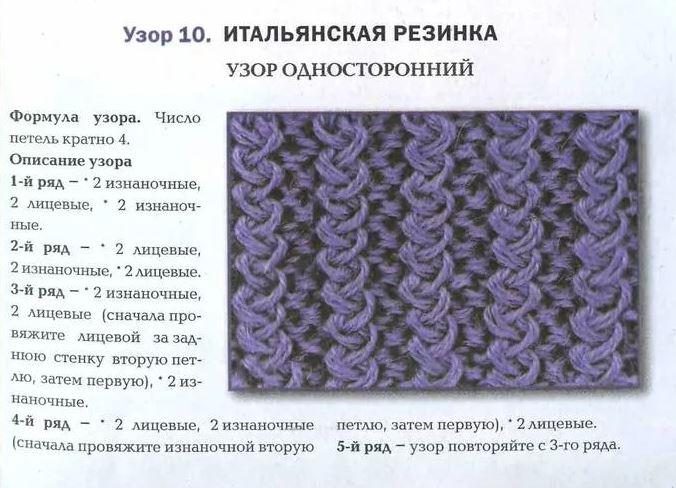 узор итальянская резинка для шарфа хомута