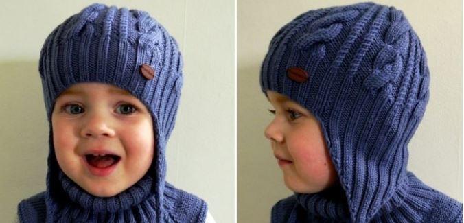 Вязаная шапка-ушанка для мальчика спицами