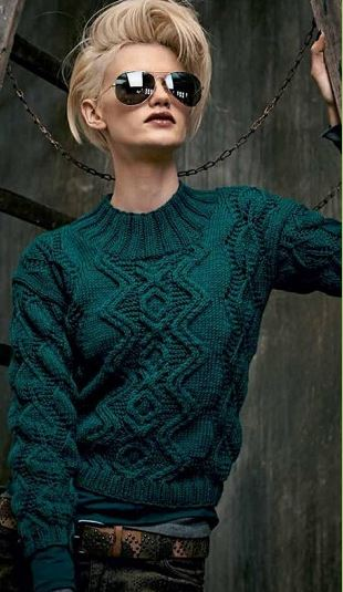 Пуловер изумрудного цвета