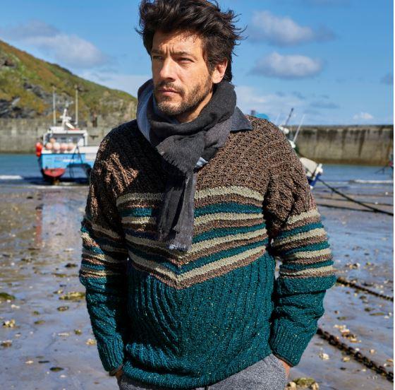 Мужской пуловер спицами с полоской, схемы и описания