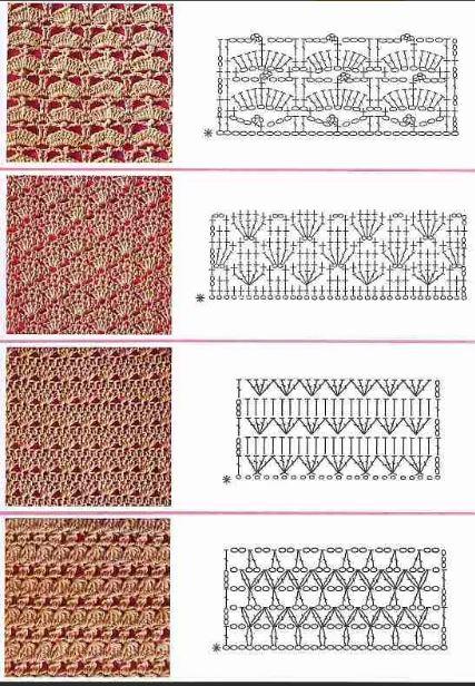 узоры  ажурные вязания крючком