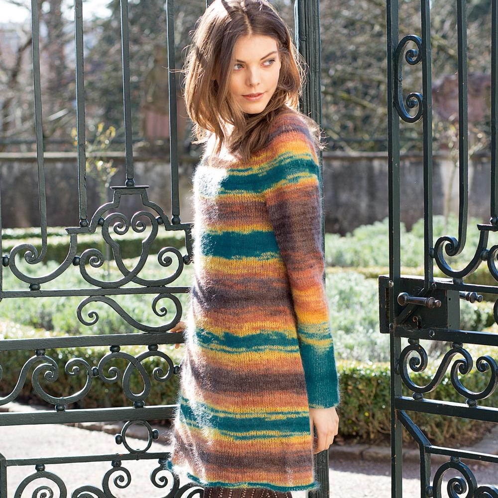 схема и описание вязания теплого платья
