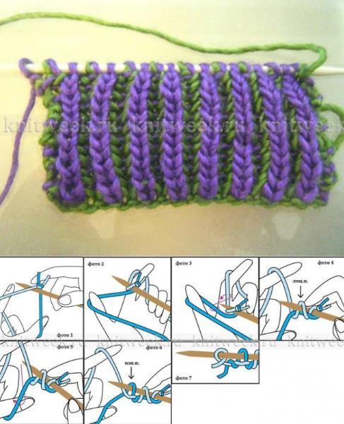 двухцветная английска резинка спицами схема вязания