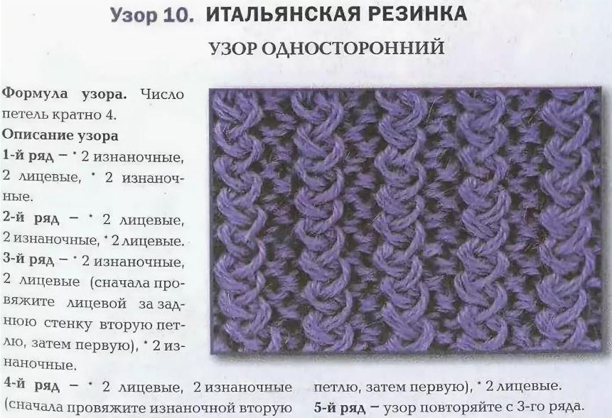 итальянская резинка схема вязания