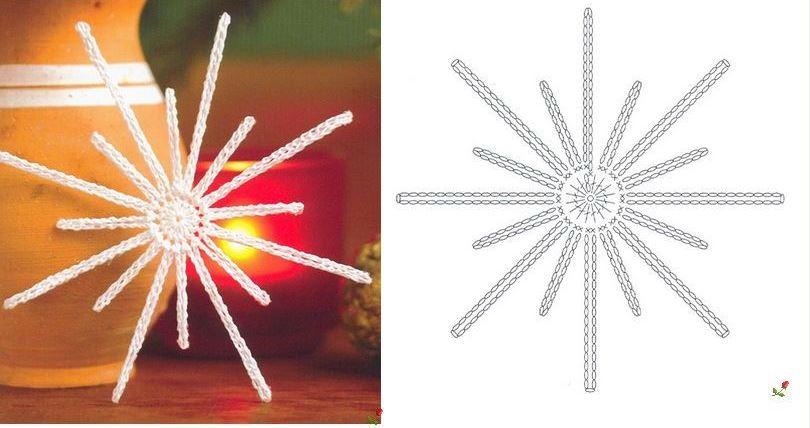 вязание снежинки схемы описание