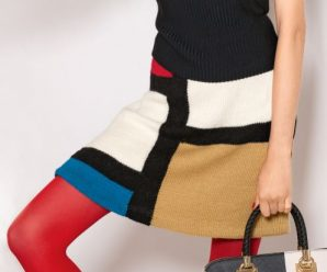 Вязаная разноцветная юбка спицами