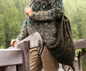 Рюкзак вязанный спицами, схема вязания с косами