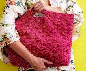 Розовая пляжная сумка крючком, схемы