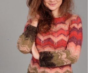 Пуловер с зигзагообразным узором спицами Missoni