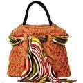 Оранжевая классическая сумка вязаная косами