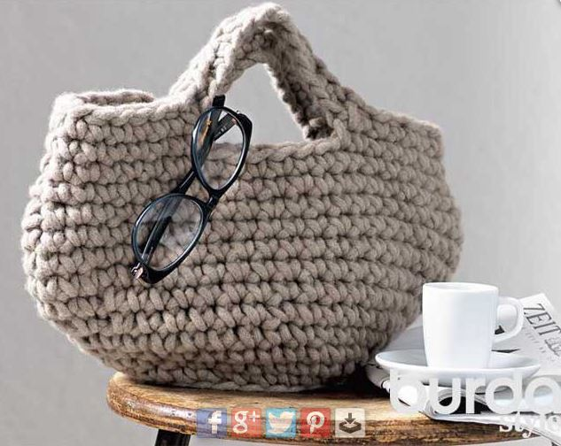 трикотажная сумка крючком схема