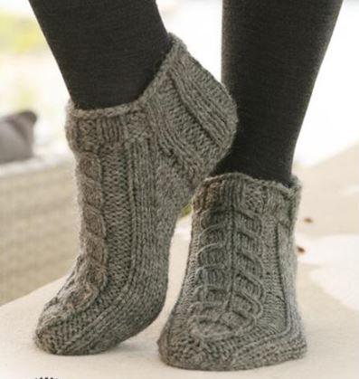 вязание носков следков тапочек спицами