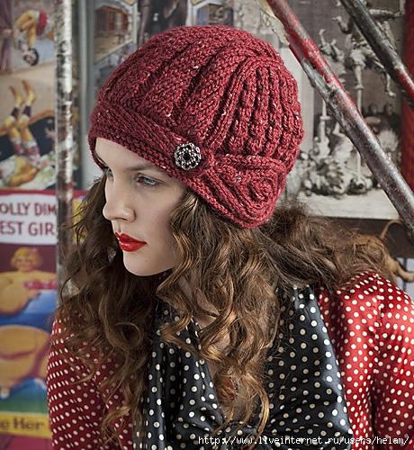 шапка женская спицами схема