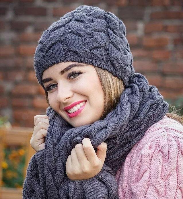 схема шапки спицами для женщины