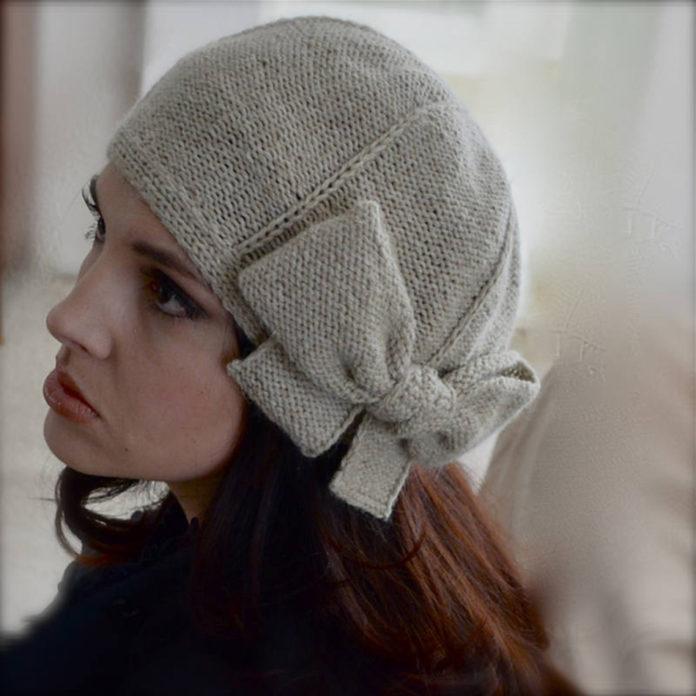 шапка бант спицами